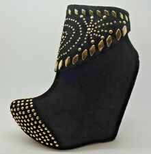 STUNNING LADIES JEFFREY CAMPBELL ZION BLACK / GOLD STUDDED WEDGE ANKLE BOOTS 4-7