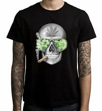 Skull Smoking Cannabis Men's T-Shirt  - Weed Hydroponics Spliff