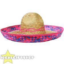 PINK TRIM MEXICAN SOMBRERO STRAW HAT PACK WHOLESALE LOT FANCY DRESS WESTERN