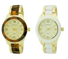 NEW GENEVA RESIN & METAL BAND GOLD TONE+WHITE OR TORTOISE LADY'S WATCH