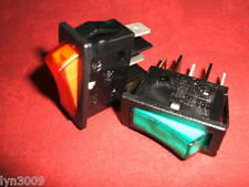 2 off Mains Rocker Switch SPST Green Red Green/Red