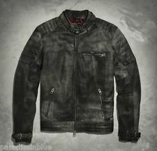 Harley Davidson Men BLACK LABEL Distressed Lambskin Leather Jacket 97131-16V M L