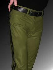 Lederhose Police Style Lederjeans neu grün  LEDERFUTTER gay leather pants green