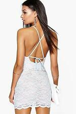 Boohoo Womens Sally Lace Strappy Back Bodycon Dress