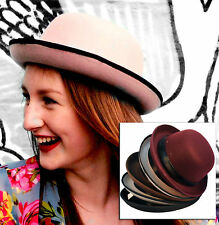 WOMENS VINTAGE STYLE BOWLER DERBY HAT BOW TRIM RIBBON BLACK BROWN NUDE GREY