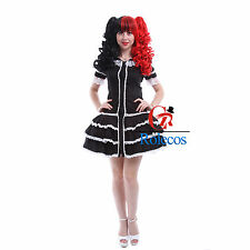 Damen Schwarz Lace Lolita Retro Gothic Kleid Halloween Party Cosplay Costume
