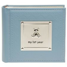 BABY BOYS BLUE MY FIRST YEAR PHOTO ALBUM RECORD BOOK CHRISTENING BABY GIFT 77802