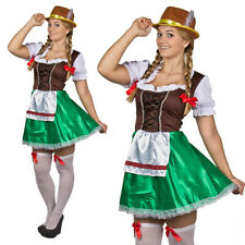 OKTOBERFEST LADIES BEER FESTIVAL BAVARIAN BROWN GREEN FANCY DRESS COSTUME GERMAN