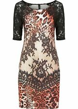 Damen Kleid in Scubaoptik, 167057 in Leopard Rot Multi