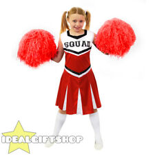 CHILDS RED HIGH SCHOOL CHEERLEADER GIRLS FANCY DRESS COSTUME WITH POM POMS