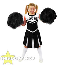 CHILDS BLACK HIGH SCHOOL CHEERLEADER GIRLS FANCY DRESS COSTUME WITH POM POMS