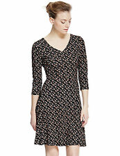 New M&S COLLECTION Retro Ditsy Palm Print Black Coral White Skater Dress Sz 10