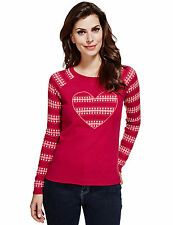 New M&S Per Una Red Pink Heart Applique Jumper With Wool Sz UK 18