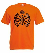Mens Orange Ministry of Darts T Shirt World Matchplay Top Black Print