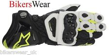 New 2015 Alpinestars GP Pro Black/White/Yellow Fluo Leather Gloves white knuckle