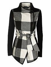New M&S Per Una Black & White Checked Belted Jacket With Wool UK 16