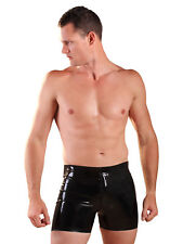 Honour Men's Latex Rubber Front Zip Boxer Shorts in PVC Black Fetish Lingerie