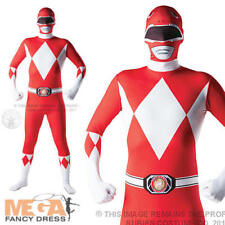 Adult Red Power Ranger Mighty Morphin 2nd Skin Fancy Dress Bodysuit Mens Costume