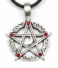 PEWTER Pentacle PENTAGRAM Pagan Moon RED Crystal JANUARY Birthstone Pendant