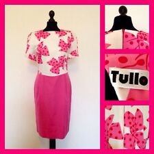Vintage 80's Tullo Pink Bow Wiggle Pencil Dress UK 10/12 50's Style Pin Up