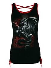 Spiral Dragon Rose Back Strap & Red Women's Black Top