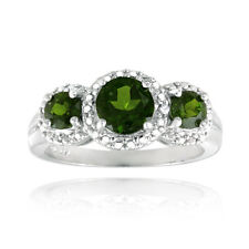 925 Argent Chrome Diopside & Diamant ACCENT triple couronne bague