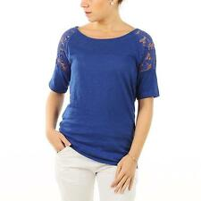 ONLY Damen Strick Shirt KITTA 3/4 LACE TOP MAZARINE BLUE Blau Spitze Baumwolle