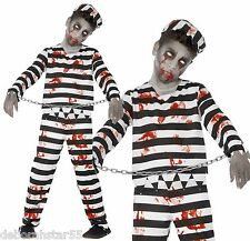 Zombie Convict Prison Ghoul Horror Halloween Fancy Dress Costume Child age 4-14