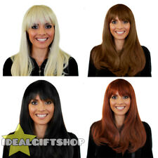 HEAT AND STYLE WIGS STRAIGHT BLONDE BROWN BLACK AUBURN HEAT RESISTANT HAIRPIECE