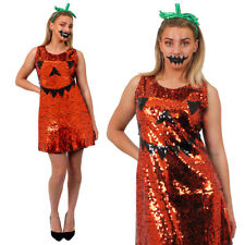 PUMPKIN HALLOWEEN ADULTS FANCY DRESS SEQUIN PARTY COSTUME ORANGE BLACK