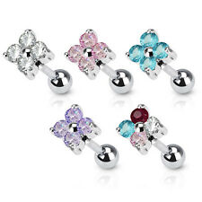Surgical Steel Flower Quad CZ Tragus / Cartilage Bar Stud - Choose colour
