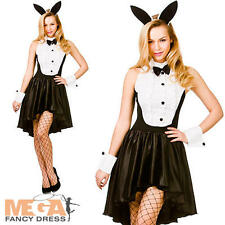 Bunny Hostess Tuxedo Ladies Fancy Dress Playboy Easter Womens Adults Costume New