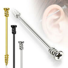 Surgical Steel Screw Industrial Barbell / Scaffold Bar Gold Black Silver