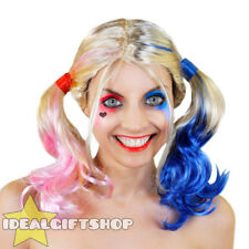 HARLEQUIN WIG HALLOWEEN COSPLAY SQUAD ADULTS FANCY DRESS BLONDE PINK BLUE WOMENS