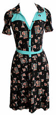 Blutsgeschwister Kleid Highline Dress XS - XL schwarz Retro Muster Pin Up V59