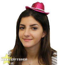 PINK MINI SPARKLY COWBOY COWGIRL HAT FANCY DRESS TINY HAT ADULTS ACCESSORY