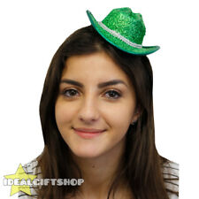 GREEN MINI SPARKLY COWBOY COWGIRL HAT FANCY DRESS TINY HAT ADULTS ACCESSORY