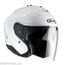 HJC IS-33 2 Plain White Open Face Motorcycle/Scooter Helmet With Sun Visor