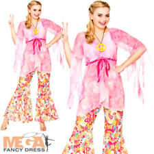 Groovy Hippie Ladies Fancy Dress Hippy 1960s 70s Adult Womens Costume Outfit New