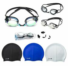 Swimming Goggles and Swim Caps Combo Pack Adult Anti Fog UV Adjustable Strap