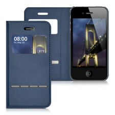 WINDOW FLIP COVER FOR APPLE IPHONE 4 4S DARK BLUE CASE SLIM BACK SHELL HARD
