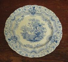 Old Transfer Printed Blue + White Pottery Plate William Ridgway Persian c1830