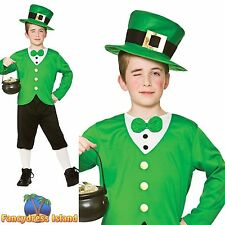FUNNY GREEN IRISH LUCKY LEPRECHAUN SHAMROCK Childs Boys Fancy Dress Costume