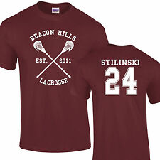 Lacrosse Di Beacon Hills T-shirt Bordeaux Stili Stilinski Lupo 24 Teenager