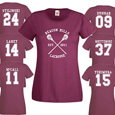 Lacrosse Di Beacon Hills T-Shirt DA DONNA Bordeaux Stilinski Lupo 24 Teenager