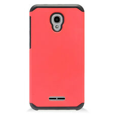 For Alcatel One Touch Fierce 4 Red Black Solid Duo Layer Phone Cases