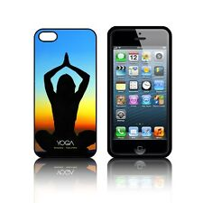 'YOGA' Funda De Silicona para Apple iPHONE 5 5S,SE,5C De Gel Negro Daisy funda