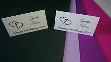 50 Personalised  table place cards with interlocking hearts  'New for 2015'