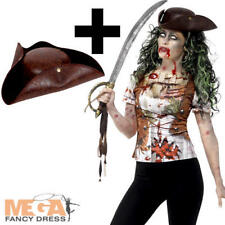 Zombie Pirate Top + Hat Ladies Halloween Fancy Dress Womens Adults Costume New