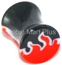 1 Ear Plug Earring Piercing Fire Flame Double Flared Acrylic Plastic Red Black